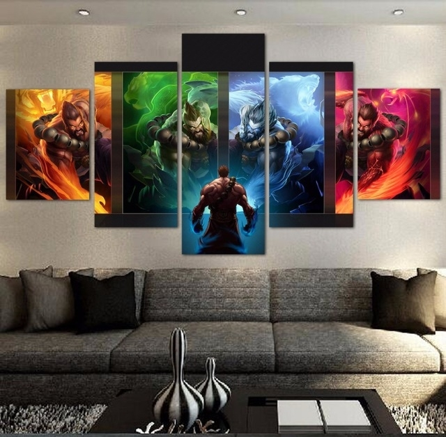 5 Pieces Modern Hd Painting League Of Legends Game Painting Canvas With Modern Painting Canvas Wall Art (View 14 of 25)