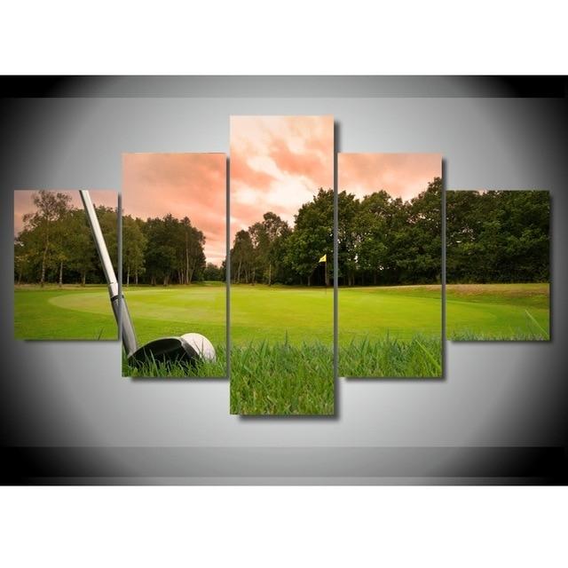 5 Pieces Print Custom Canvas Room Decor Wall Art Hd Golf Picture inside Golf Canvas Wall Art