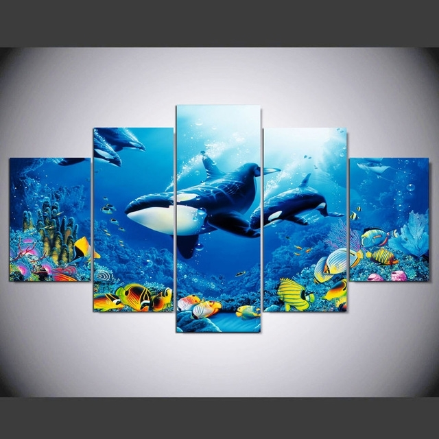 5 Pieces Printed Modular Canvas Oil Painting Whale Canvas Print Wall For Whale Canvas Wall Art (Image 2 of 25)