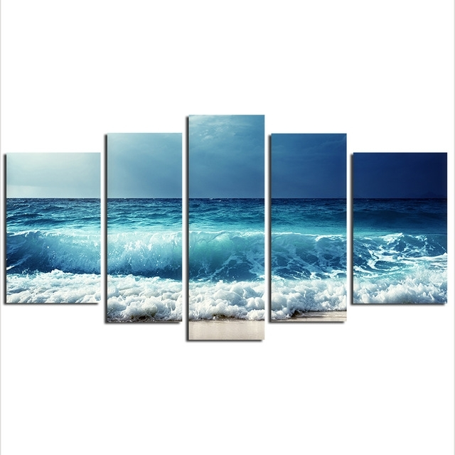 5 Pieces Sea Wave Painting Large Canvas Wall Art Huge Modern Ocean with regard to Ocean Wall Art