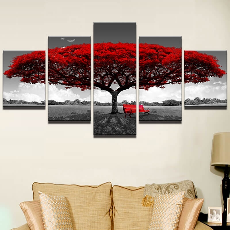 5 Pieces Wall Art Canvas – Red Tree Art Scenery Landscape Pertaining To 5 Piece Wall Art (Image 8 of 25)