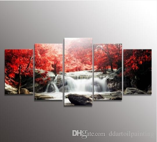 5 The Panel Wall Art Of Mangroves And Waterfalls Painting Pictures Within 5 Panel Wall Art (View 3 of 25)
