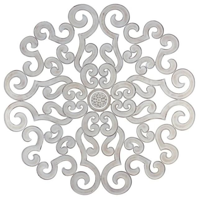 "50"" Oversize White Scroll Wall Medallion, Round Art Metal Iron Swirl inside Metal Scroll Wall Art"