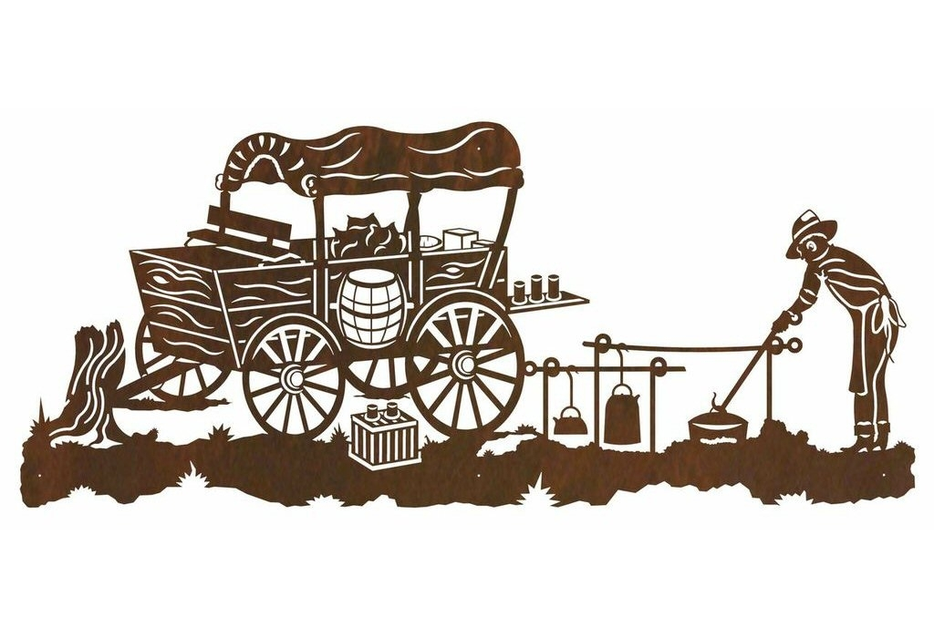 "57"" Old West Chuck Wagon Metal Wall Art – Western Wall Decor Inside Western Wall Art (Image 2 of 25)"