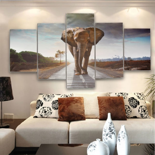 5Pcs Large Abstract Elephant Canvas Print Art Picture Home Wall For Elephant Canvas Wall Art (View 17 of 20)