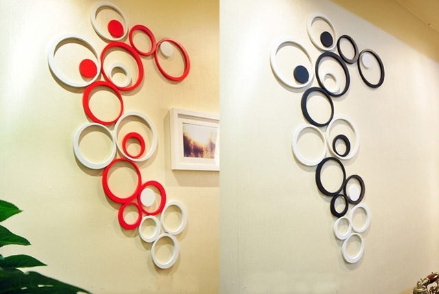 5Pcs/set Wooden Circle Shape 3D Three Dimensional Wall Stickers Pertaining To Circle Wall Art (View 3 of 25)