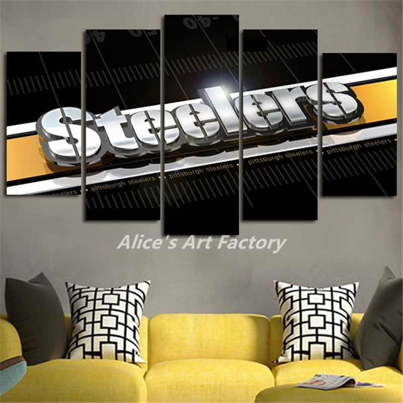5Piece Painting Calligraphy Home Decor Pop Wall Art Picture Steelers Throughout Popular Wall Art (Image 4 of 20)