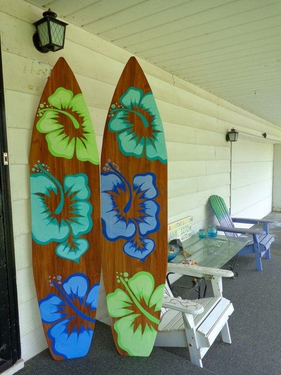 6 Foot Wood Hawaiian Surfboard Wall Art Decor Or Headboard Kids Room Inside Surfboard Wall Art (Image 2 of 25)