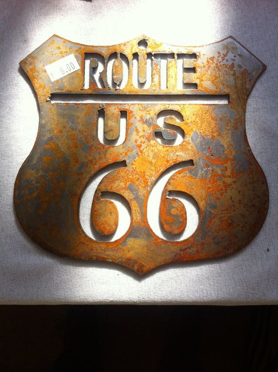 6 Inch Route Rt 66 Shield Rusty Rustic Metal Wall Art Ornament Pertaining To Rustic Metal Wall Art (Image 1 of 25)
