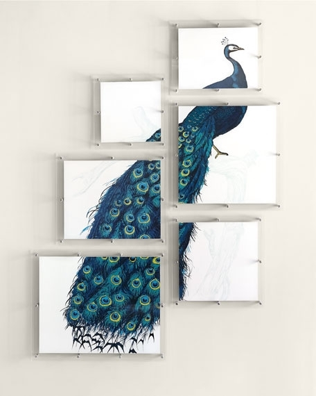 6-Panel Peacock Wall Art | Neiman Marcus intended for Peacock Wall Art