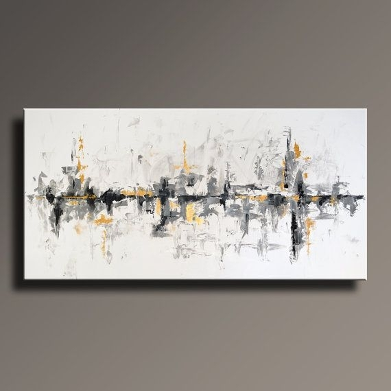 "75"" Large Original Abstract Black White Gray Gold Painting On Canvas throughout White Wall Art"