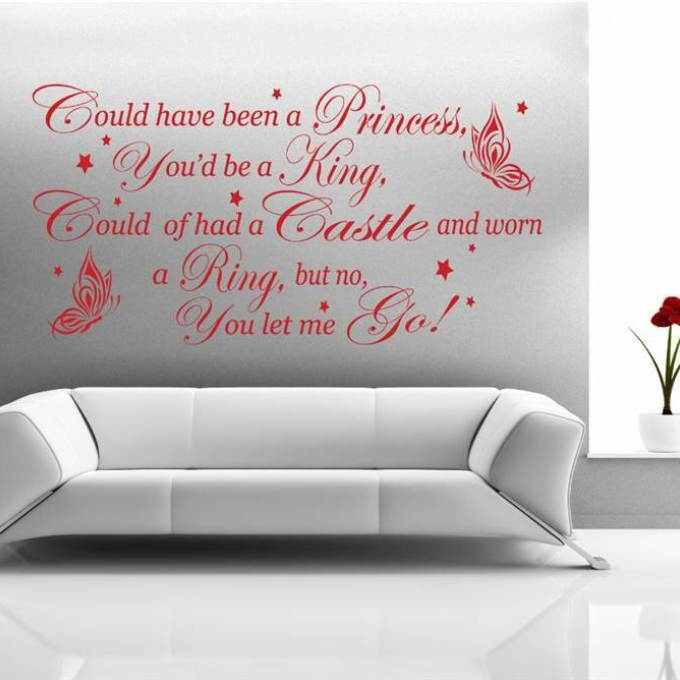 8 Lyric Wall Art, So Close Wall Sticker Metallica Wall Art for Song Lyric Wall Art