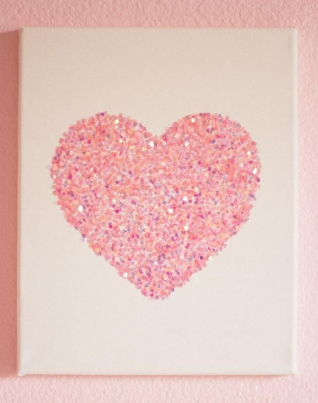 9 Diy Easy Glitter Wall Art Ideas | Card Stamping | Pinterest Intended For Pink Wall Art (Photo 21 of 25)