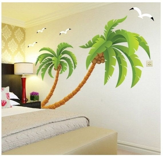 A Lovely Palm Tree Wall Decal Tropical Beach Palm Trees Decals With Regarding Palm Tree Wall Art (Image 1 of 25)