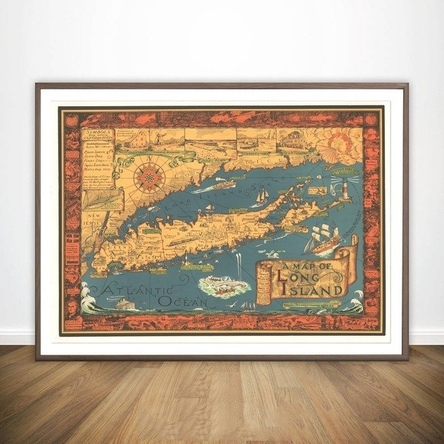 A Map Of Long Island Ny 1930S Historic Wall Map Wall Art Paint Wall Within Long Island Wall Art (View 25 of 25)
