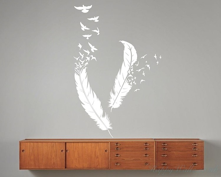 A Pair Of Feathers Modern Wall Art Sticker Pertaining To Feather Wall Art (Image 1 of 25)