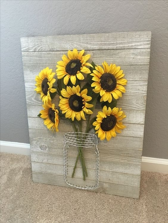 A Rustic Pallet Sign With Wire And Faux Sunflowers Is Ideal For Wall Within Sunflower Wall Art (Image 2 of 25)