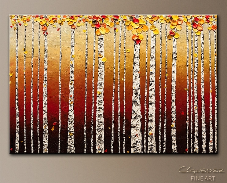 Abstract Art Painting – Birch Trees – Landscape Wall Art – Tree In Birch Tree Wall Art (Image 3 of 25)