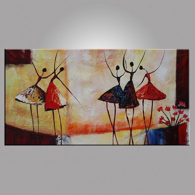Abstract Ballet Dancer Oil Painting On Canvas Figurative Wall Art Within Wall Art Paintings (Image 9 of 25)