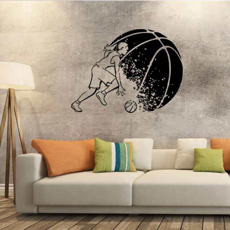 Abstract Basketball Player Wall Art Mural Decor Boys Room Wallpaper Regarding Basketball Wall Art (Image 1 of 10)