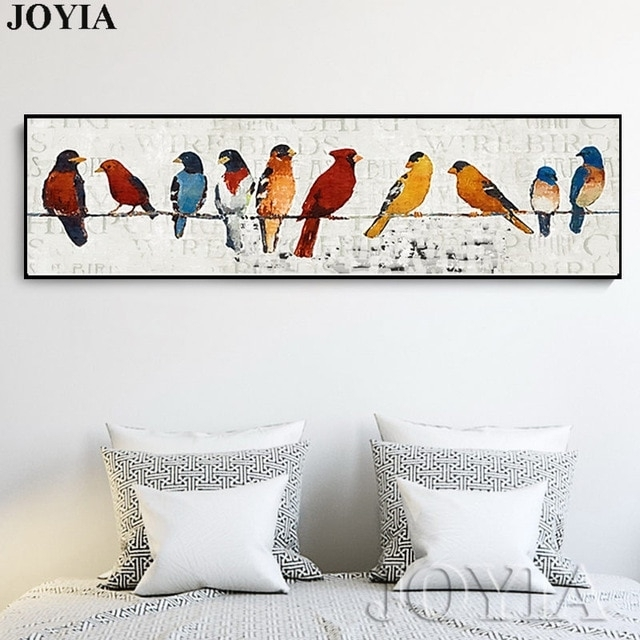 Abstract Bird Picture Classic Decor Sparrow Group Wire Little Birds Regarding Bird Wall Art (View 6 of 10)