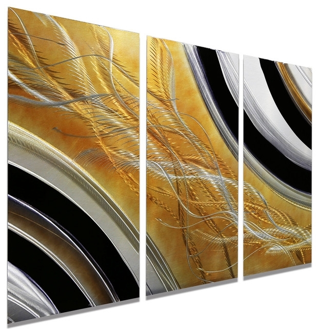 Abstract Black, Silver And Gold Modern Metal Wall Painting Within Black And Gold Wall Art (Image 2 of 25)