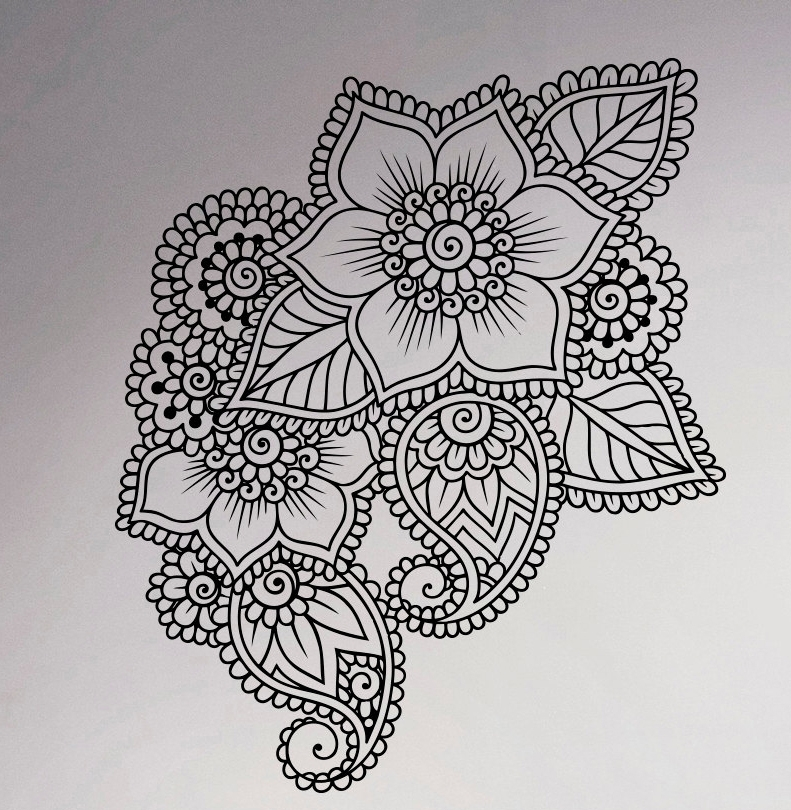Abstract Flowers Mehndi Wall Vinyl Decal Henna Indian Ornament With Regard To Henna Wall Art (Image 2 of 25)
