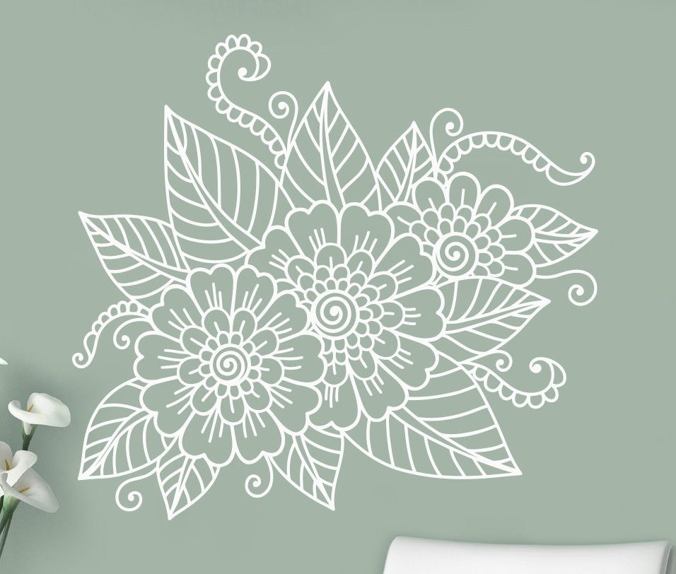 Abstract Flowers Mehndi Wall Vinyl Sticker Henna Indian Ornament Inside Henna Wall Art (Image 3 of 25)