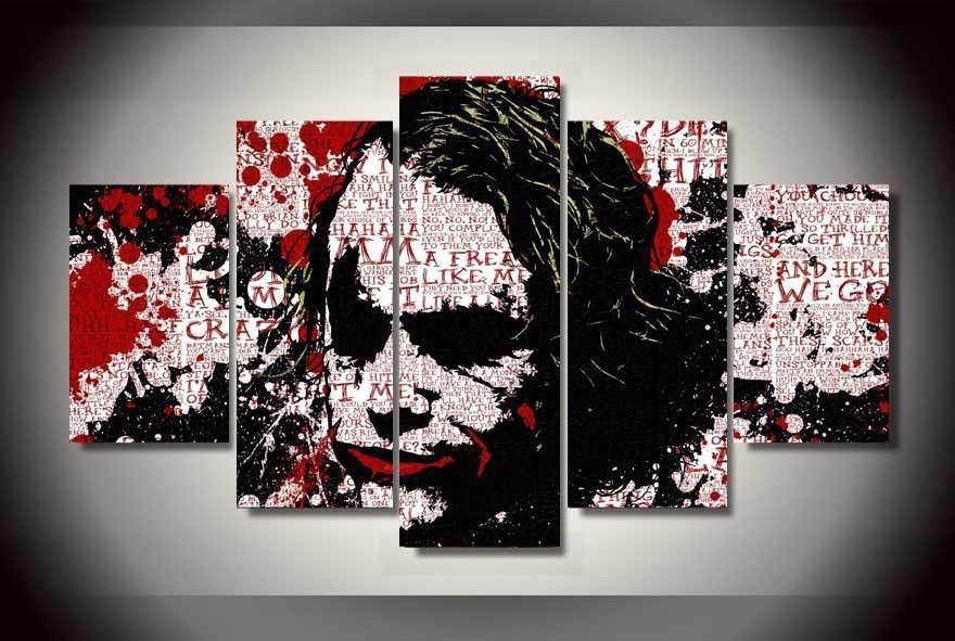 Abstract Joker Batman Painting Printed Canvas Wall Art Home Pertaining To Joker Wall Art (Image 3 of 20)