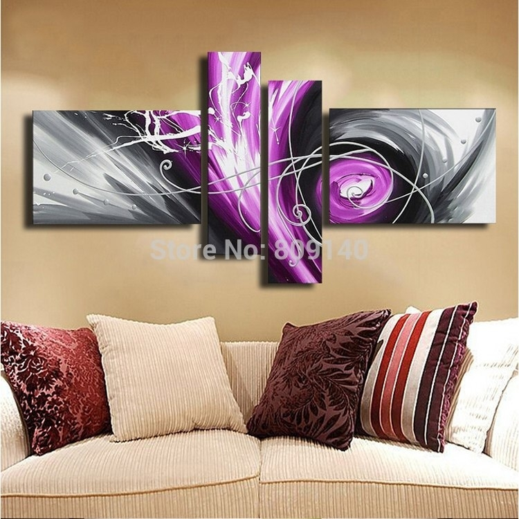 Abstract Oil Painting Canvas Grey Purple White Modern Artwork In Purple And Grey Wall Art (Image 3 of 25)