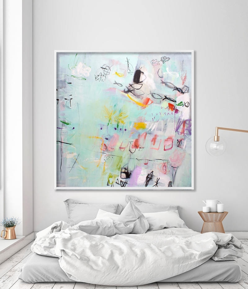 Abstract Painting Print Large Wall Art Coastal Wall Art Mint Green Regarding Large Coastal Wall Art (Image 1 of 20)