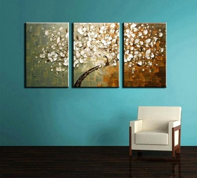 Abstract Tree Artwork 3 Piece Modern Canvas Wall Art Triptych In Triptych Wall Art (Image 1 of 25)
