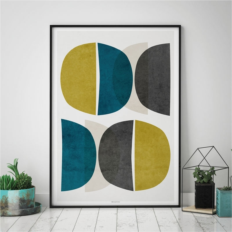 Abstract Wall Art – Modern Art Prints – Minimalist Print – Yellow Inside Teal Wall Art (View 8 of 10)