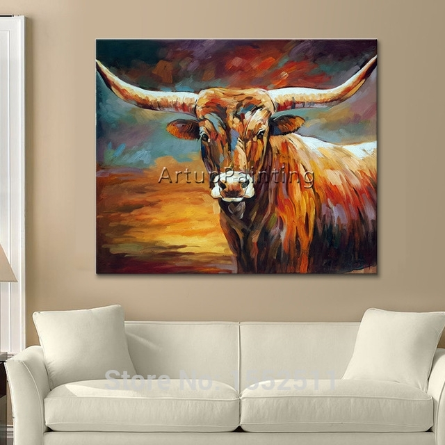 Acrylic Bull Painting Canvas Painting Wall Art Pictures For Living Throughout Acrylic Wall Art (Image 3 of 25)
