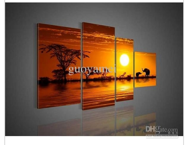 African Abstract Elephant Canvas Wall Art Decor Colors Forest Sunset Inside Elephant Canvas Wall Art (View 14 of 20)
