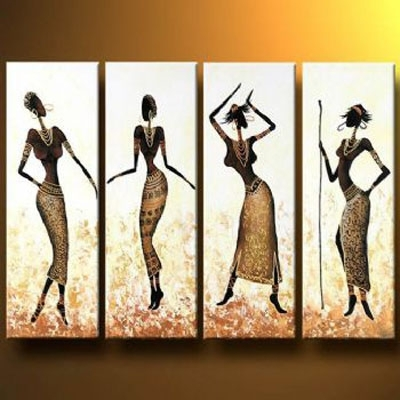African Girls Dance In Gold Oil Painting Abstract Wall Art With Within Cheap Framed Wall Art (View 16 of 25)
