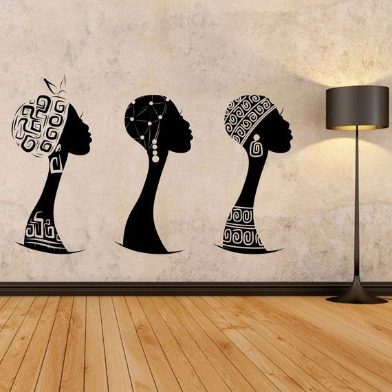 African Women Wall Decal, African Woman Profile Wall Vinyl, Africa Intended For African Wall Art (View 8 of 10)