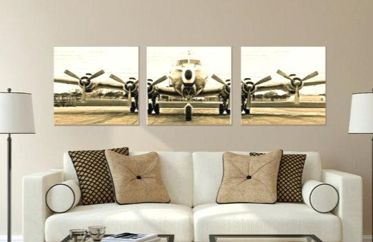 Airplane Canvas Wall Art Airplane Skyline 5 Piece Wall Canvas Art With Regard To Airplane Wall Art (Image 6 of 20)