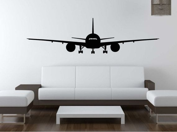 Airplane Wall Decal Vinyl Sticker Airbus Aviation Wall Art | Seba Intended For Aviation Wall Art (Image 7 of 25)