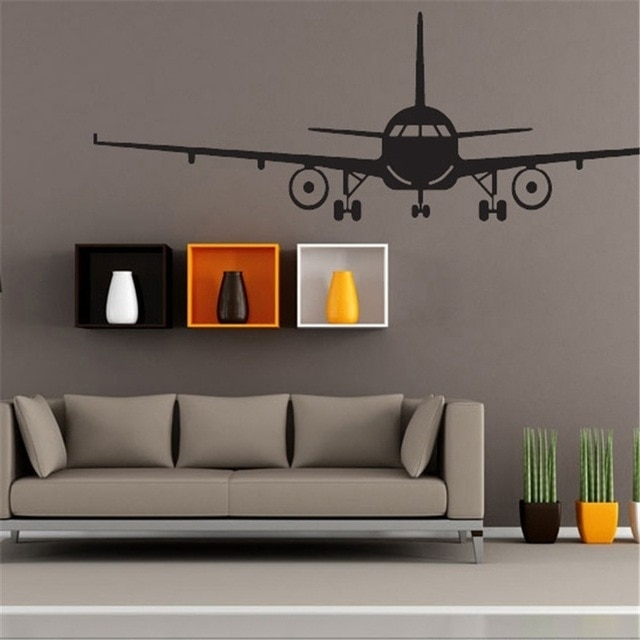 Airplane Wall Stickers Home Wall Decor Wall Art Decal Decoration Regarding Airplane Wall Art (View 13 of 20)