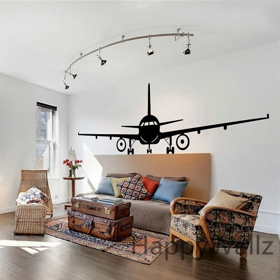 Airplane Wall Stickers Muraux Wall Decor Airplane Wall Art Decal Inside Airplane Wall Art (View 18 of 20)