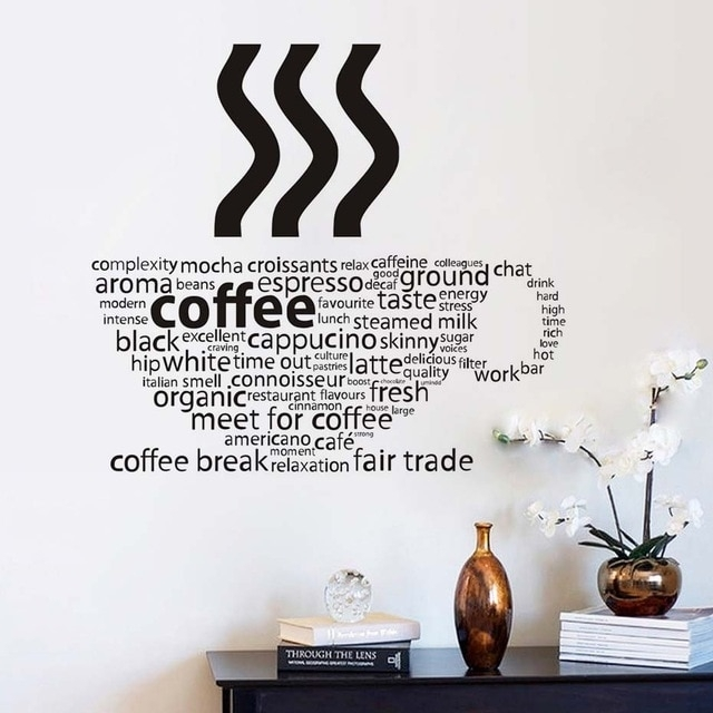 All Kind Letters Coffee Wall Sticker Coffee Cup Shop Restaurant Wall Within Coffee Wall Art (View 3 of 10)