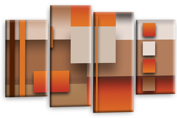 All Multi Panel Canvas Wall Art Picture Prints, Abstract Checks Squares Within Orange Wall Art (Image 5 of 25)
