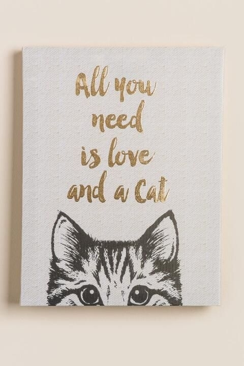 All You Need Is Love And A Cat Canvas Wall Decor  Gift Cl | Cold Regarding Cat Canvas Wall Art (Image 6 of 25)