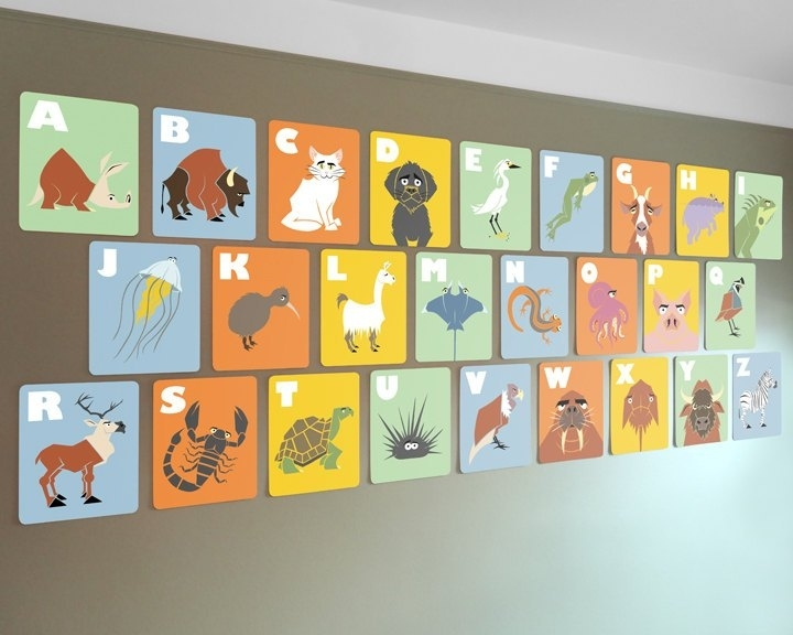 Alphabet Wall Cards 8 X 10 Abc Flash Cards Kids Modern Wall, Abc In Alphabet Wall Art (View 7 of 25)