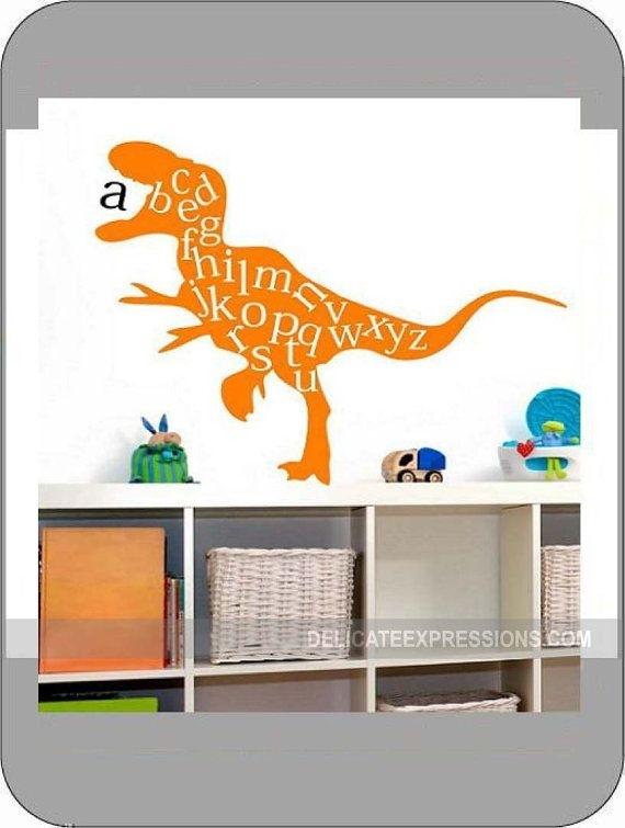 Alphabet Wall Decal, Abc Playroom Wall Decal, Dinosaur Wall Decal Inside Dinosaur Wall Art (Image 1 of 20)