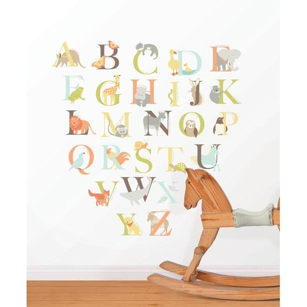 Alphabet Zoo Kit Wall Decals – Wallpops For Baby Peel And Stick Wall Art Regarding Alphabet Wall Art (Image 9 of 25)