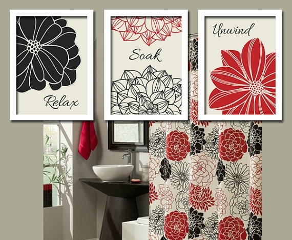 Amazing Black Red Bathroom Wall Art Canvas Or Prints Bathroom Within Bathroom Wall Art Decors (View 9 of 10)