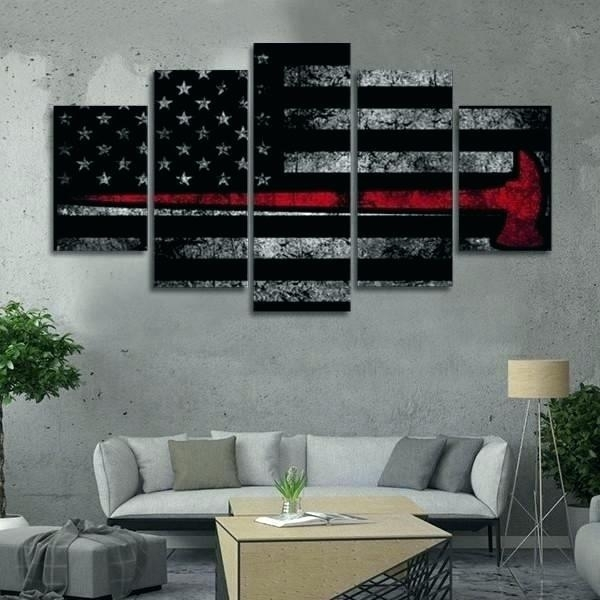 Amazing Firefighter Wall Art Decor Distressed Axe Flag Multi Panel Inside Firefighter Wall Art (View 2 of 10)