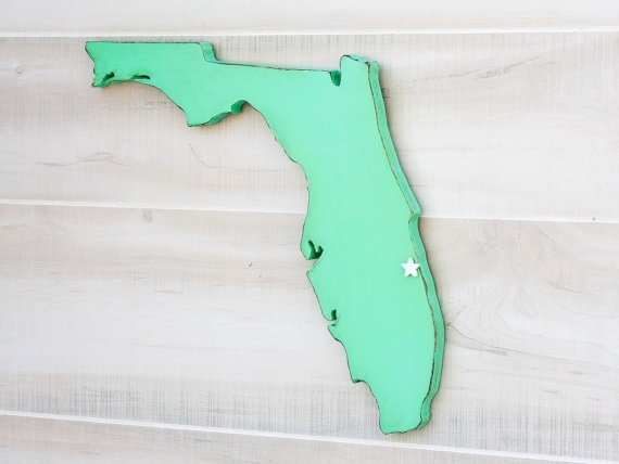Amazing Florida State Shape Sign Wood Cutout Wall Art With Heart Or Pertaining To Florida Wall Art (Image 1 of 20)